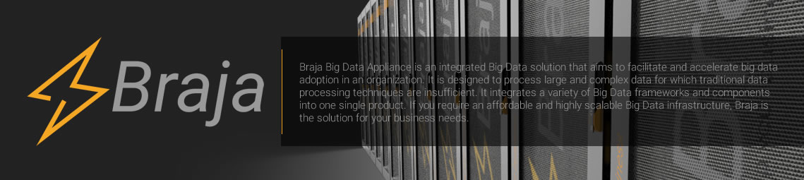 Braja Big Data Appliance is an integrated Big Data solution that aims to facilitate and accelerate big data adoption in an organization. It is designed to process large and complex data for which traditional data processing techniques are insufficient. It integrates a variety of Big Data frameworks and components into one single product. If you require an affordable and highly scalable Big Data infrastructure, Braja is the solution for your business needs.